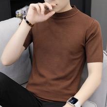 纯色衣服帅气针织衫 夏季男装 t恤韩版 短袖 潮流圆领半截袖 修身 男士