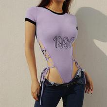 欧美ins超火侧边绑带镂空连体T恤女撞色短袖字母修身显瘦打底上衣