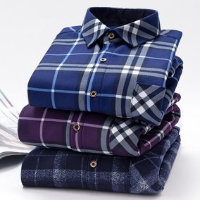 Warm shirt for men with thick fleece and winter plaid for yo