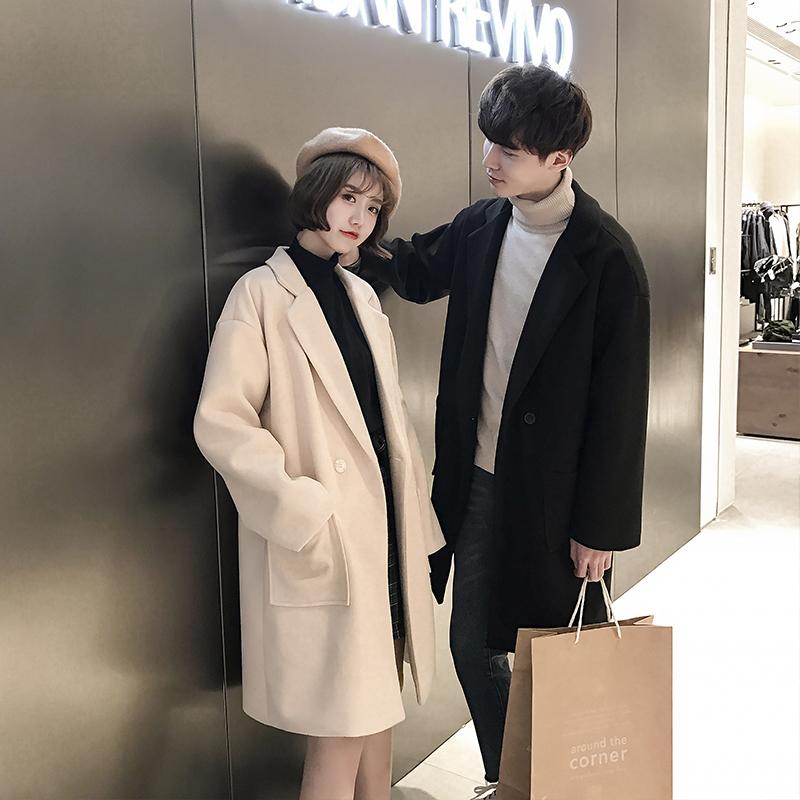 韩版情侣呢子加绒加厚外套秋冬新款潮流毛呢大衣男中长款学生风衣