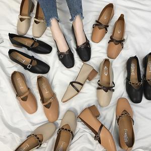 女鞋2019新款春季奶奶鞋粗跟单鞋2018韩版春秋百搭中跟豆豆鞋子女