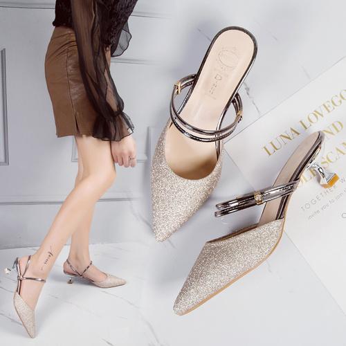 凉鞋女2018夏季新款两穿女鞋子细跟高跟鞋韩版百搭水钻外穿拖鞋潮