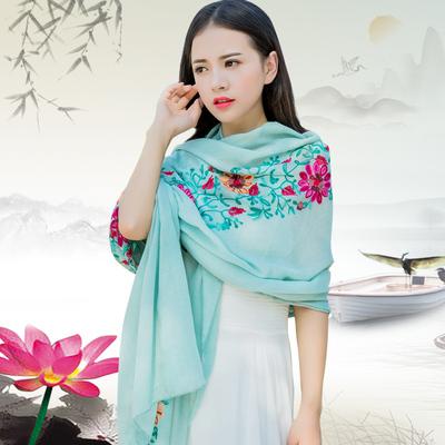 棉麻女围巾长款秋冬文艺民族风两用大披肩沙滩花朵刺绣丝巾围脖新