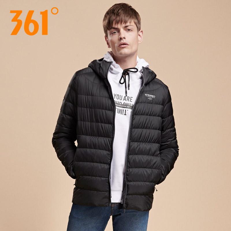 361羽绒服男2018新款冬季正品361度男装保暖加厚连帽运动服轻薄款