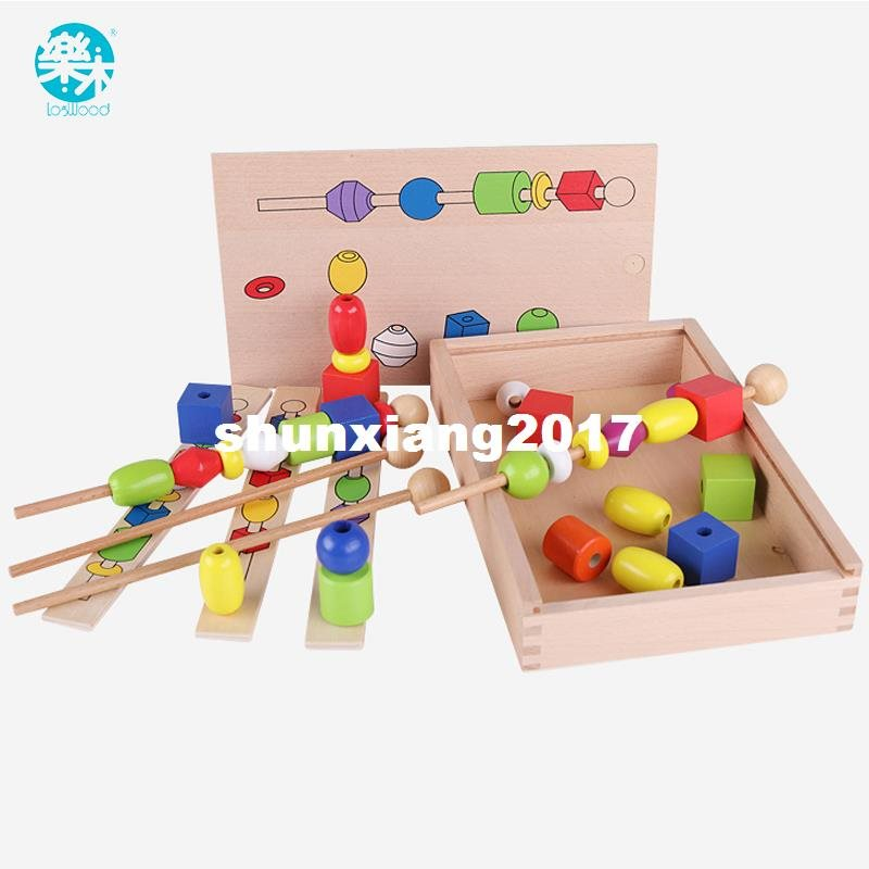 Baby Wooden Toys Montessori DIY Bead Sequencing Set Building