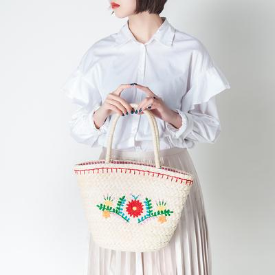 吉耀原创设计手工绣花草编包编织清新简约手提旅游度假沙滩女包