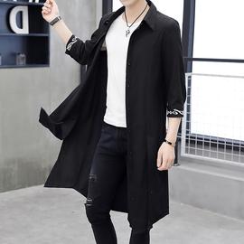 夏季防晒衣服男薄款七分袖披风外套韩版潮流帅气个性长款过膝风衣图片