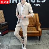 男士夏季薄款休闲西服套装韩版青年帅气修身潮流中袖小西装两件套