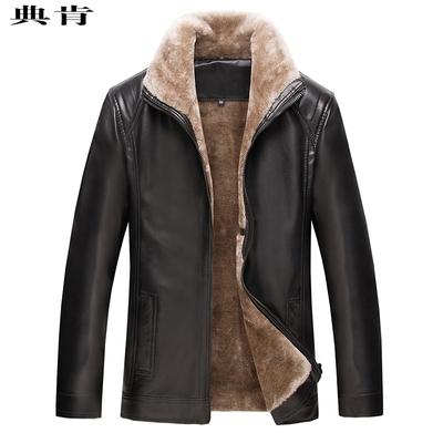 70老年人秋装男80岁老人衣服40加绒加厚宽松皮衣外套毛领保暖冬天