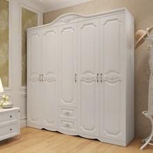 欧式衣柜简约现代经济型三门四门柜子卧室五门白色实木质板式衣橱