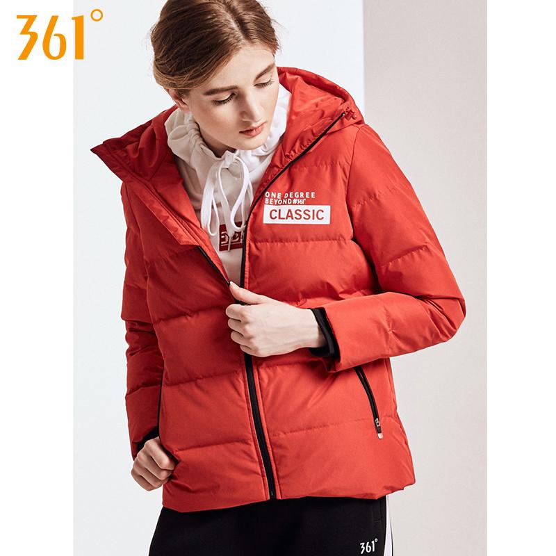 361度运动羽绒服女装2018冬季新款短款连帽361保暖外套女y