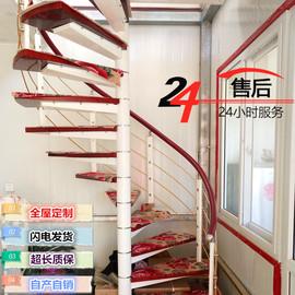 楼梯旋转整体钢木室内复式别墅楼梯阳台扶手家用实木护栏阁楼楼梯图片