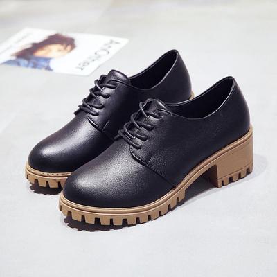 马丁靴女英伦风学生韩版百搭小皮鞋2018新款夏季粗跟单鞋靴子短靴