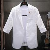 男士西服夏季超薄款七分袖韩版修身中袖小西装外套潮流帅气防晒衣