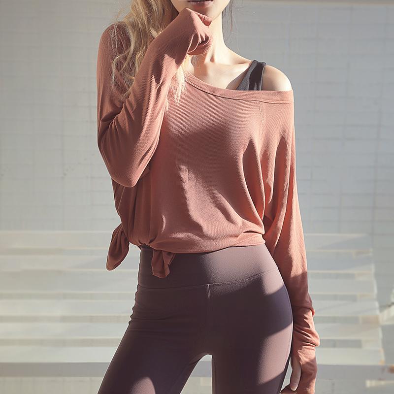 岚纹垂顺健身服女长袖跑步速干透气t恤宽松瑜伽运动罩衫大码上衣