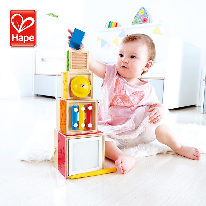 Hape五重乐器套盒1-3岁宝宝婴儿益智启蒙玩具敲打音乐木琴发音