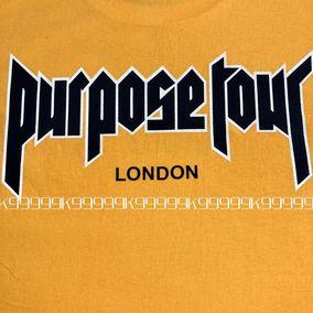 黄色比伯同款短袖 Tee PurposeTour London比伯同款 男女情侣同款