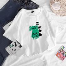 加大码女装胖妹妹t恤短袖夏装韩版新款宽松白色纯棉半袖上衣200斤