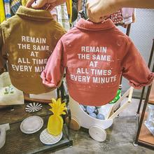 衣夹棉翻领上衣1 3岁 秋冬宝宝长袖 韩国男童保暖衬衫 加厚加棉衫