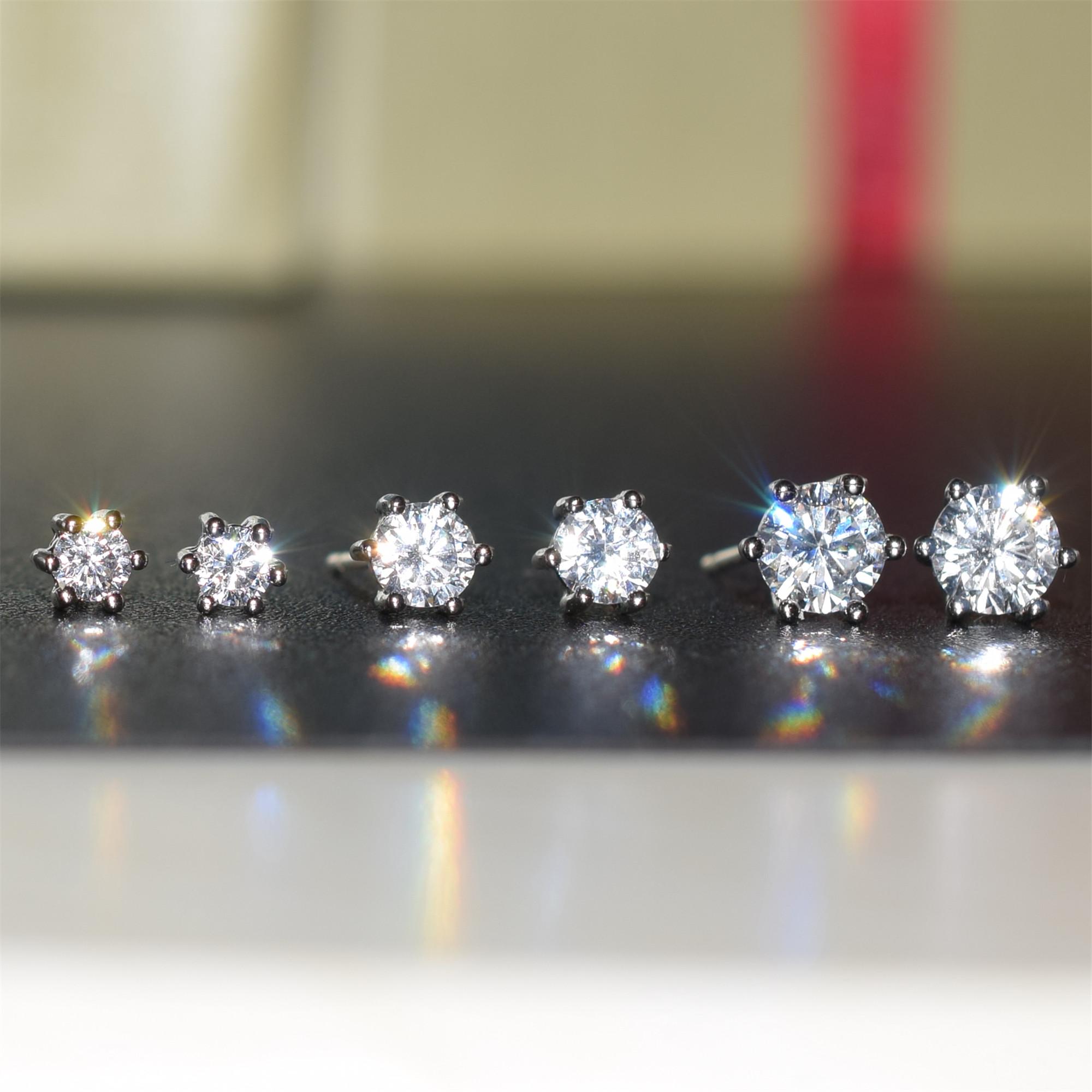 925純銀鋯石耳釘簡約