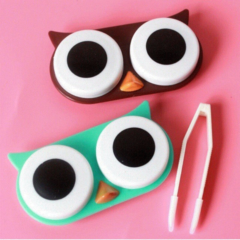 Cute Owl Travel Contact Lens Case Box Container Storage Soak