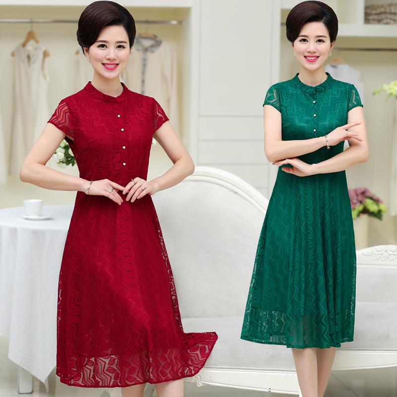 50岁妈妈装夏装连衣裙大码30-40岁中年妇女蕾丝连衣裙下装春群子