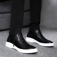 New Kind of Gaobang Shoes, Genuine Leather Men's Shoes, Korean Edition Fashion Shoes, High Uppers, Men's Thick-soled Martin Boots, Tide Shoes