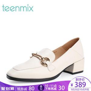 【淘宝预售】天美意穆勒乐福鞋女粗跟单鞋2018秋季新款18069CQ8