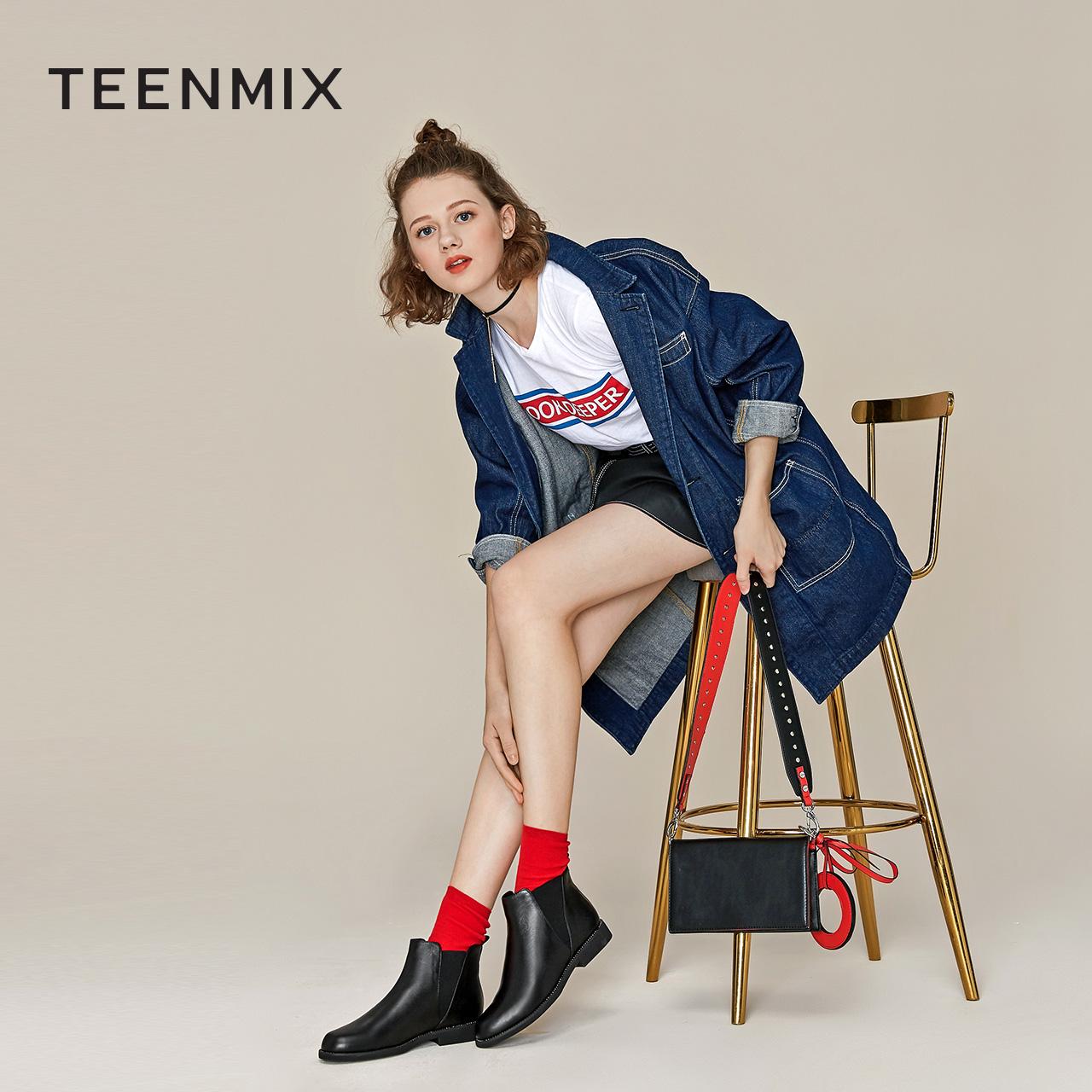 天美意商场同款方跟切尔西靴女单靴2018秋冬AS441DD8