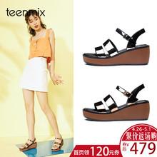 天美意夏新款商场同款罗马风坡跟女凉鞋AR591BL8图片