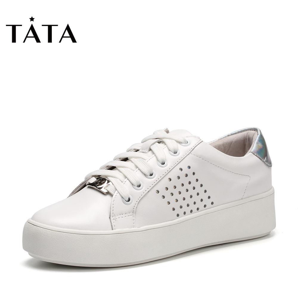 FZZ20CM7他她秋季商场同款绑带打孔小白鞋女休闲鞋TATA