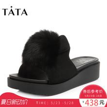 他她2018夏专柜同款绒毛球女凉拖坡跟拖鞋S2208BT8Tata
