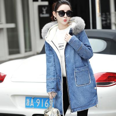 纤丝草(服饰)冬季女中长款大毛领牛仔外套大衣加绒加厚长袖棉服