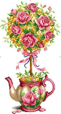 小小渔十字绣套件T350【茶壶上的花红玫瑰】精准印花印布