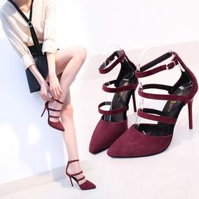 春夏绒面一字扣带女鞋浅口单鞋绑带超高跟性感尖头细跟凉鞋女婚鞋