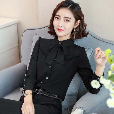 黑色职业衬衫女长袖2018秋装新款时尚带蝴蝶结的女衬衣打底衫韩版