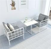 现代铁艺沙发 餐厅服装店会客区布艺沙发客厅懒人沙发茶几组合
