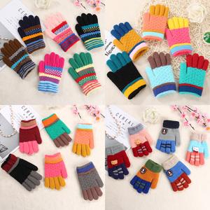 冬季儿童手套3-6岁五指手套10-12岁针织女童手套男童保暖手套