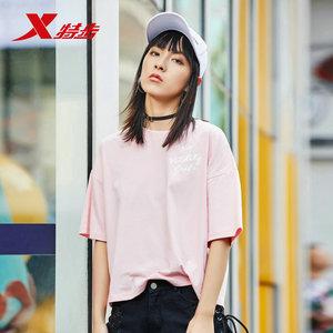 特步短袖T恤女2019夏季新款休闲女装宽松心机小众上衣潮运动夏装