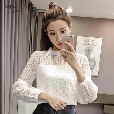 缕空拼接蕾丝衫女2018秋季新款女装韩版宽松甜美百搭长袖打底上衣