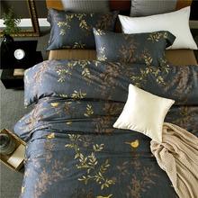 美式四件套全棉贡缎60支埃及棉床上用品深色花鸟四季床单1.8m床品