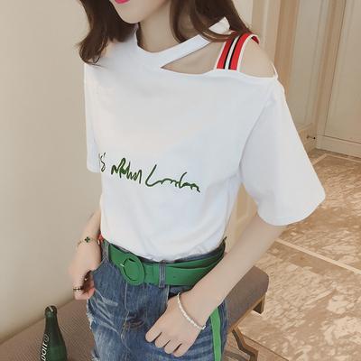 夏季2018新款韩版百搭女装短袖T恤女夏性感露肩夏装宽松半袖上衣