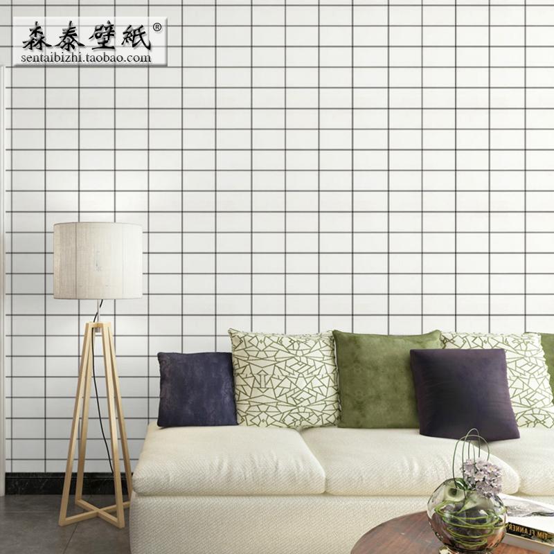 素色格子墙纸