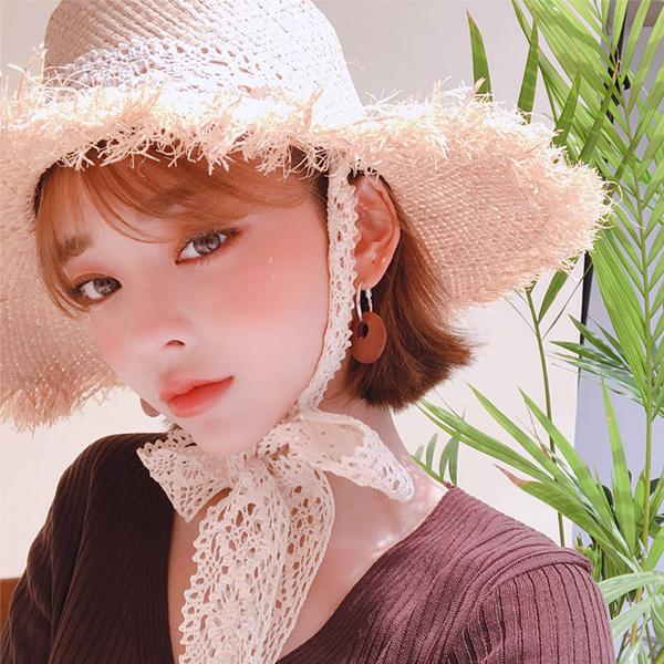 韩国直发chuu官网正品代购复古蕾丝系带蝴蝶结毛边草帽遮阳沙滩帽