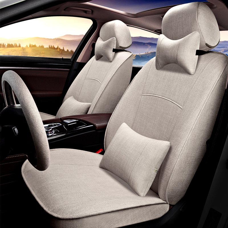 奔驰C200L E300L GLK260 GLA200 CLA220亚麻汽车坐垫全包座套椅套