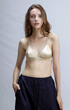 Meat skin color mulberry silk without steel ring thin triangle cup bralette French underwear