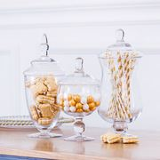European pocket glass candy jar storage sugar bowl Creative wedding hotel dessert table soft decoration decoration sugar cylinder