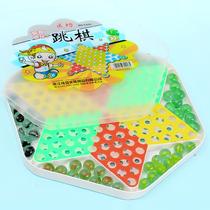 大号玻璃珠六角跳棋成人休闲儿童益智玩具棋类棋盘游戏弹珠跳跳棋