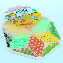 Large glass beads hexagonal checkers adult casual children's educational toys chess board game marbles jump checkers