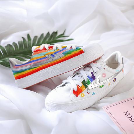 回力个性手绘帆布鞋女鸳鸯彩虹泫雅风网红潮鞋爆改涂鸦学生板鞋夏商品大图